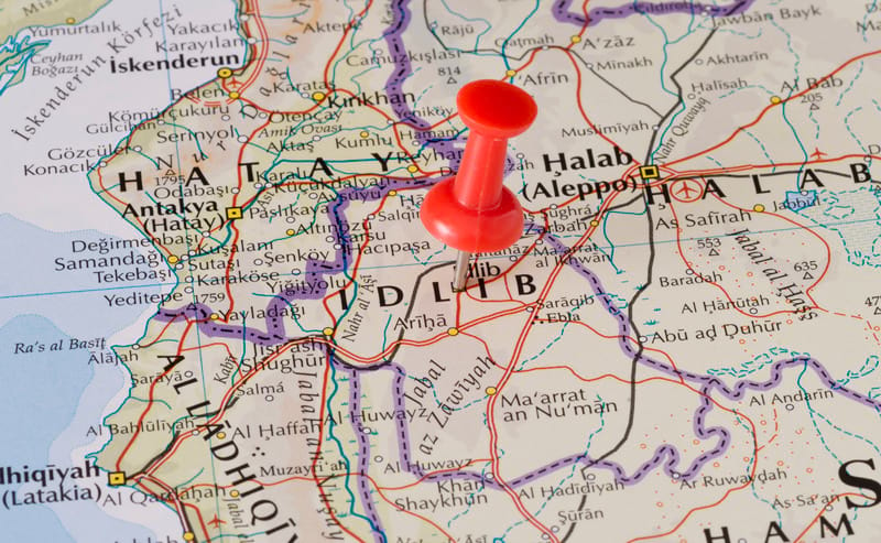 Canva Idlib Marked on Map with Red Pushpin 1