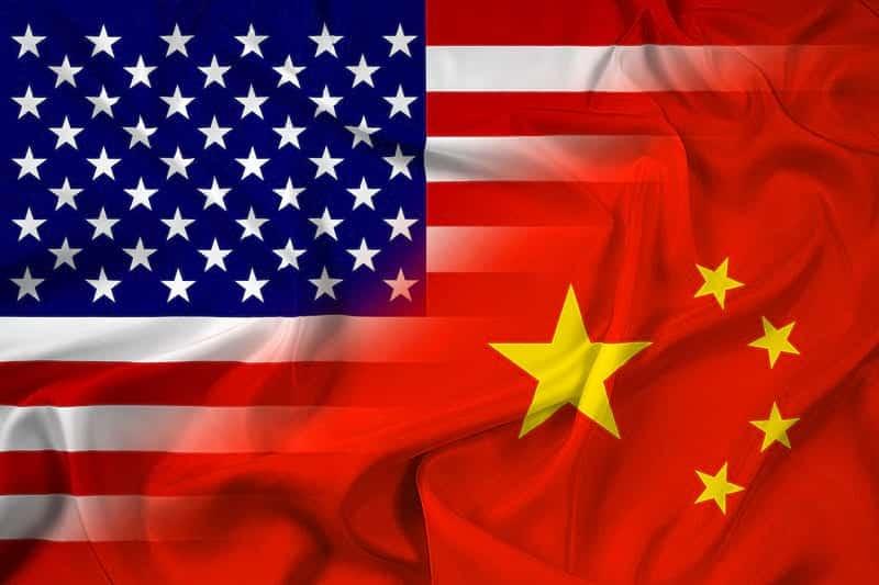 Флаги Китая и США изображение