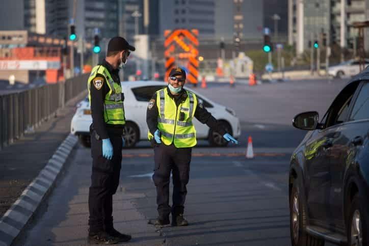 Izrailskaya politsiya patruliruet dorogu iz Ramat Gana v Tel Aviv