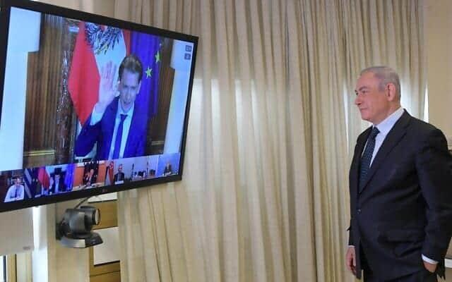 Premer ministr Binyamin Netaniyagu prinimaet uchastie v videokonferentsii s liderami drugih stran otnositelno borby s COVID 19