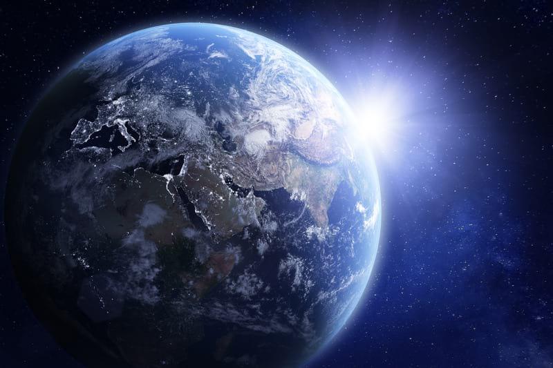 Солнце Земля космос картинка