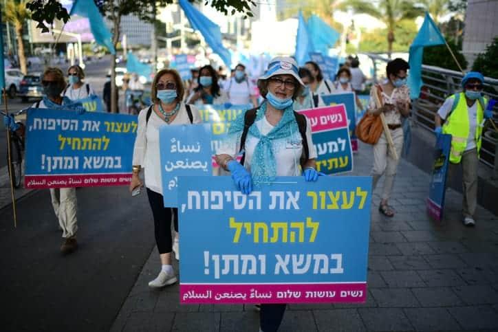 ZHenskij protest protiv anneksii v Tel Avive