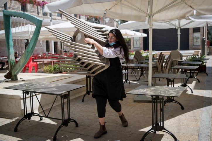 Letnyaya ploshhadka odnogo iz restoranov v Ierusalime