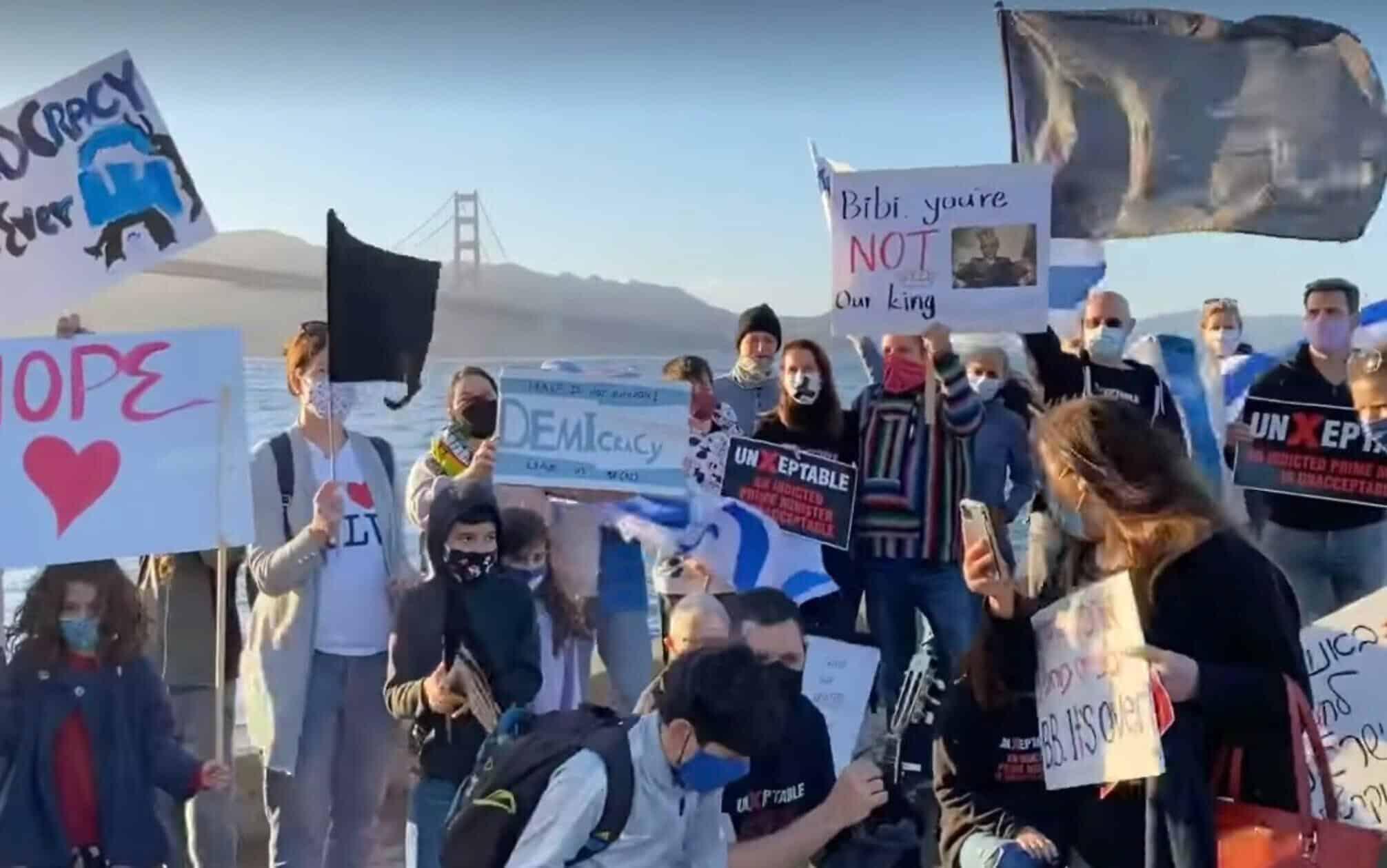 Aktsiya protesta protiv Netaniyagu v San Frantsisko