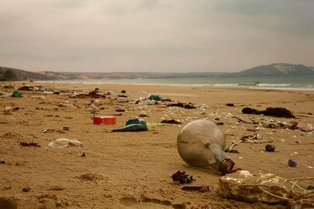 Усыпанный мусором берег фото