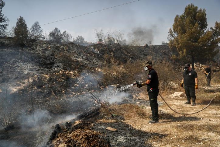 тушение пожара в израиле фото