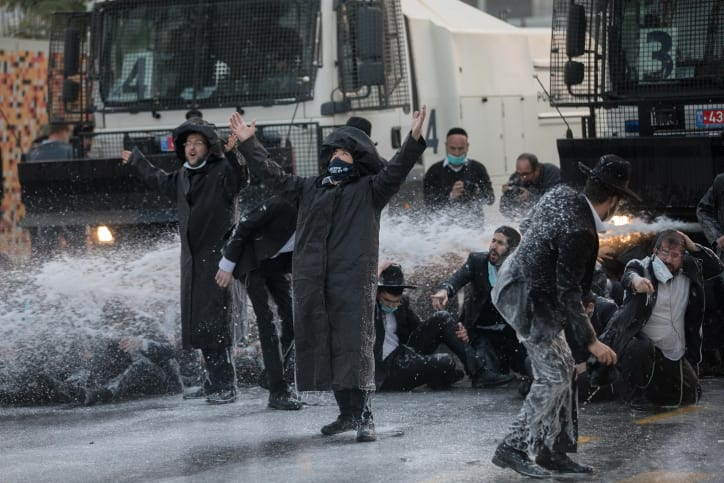 Протесты харедим в Иерусалиме фото