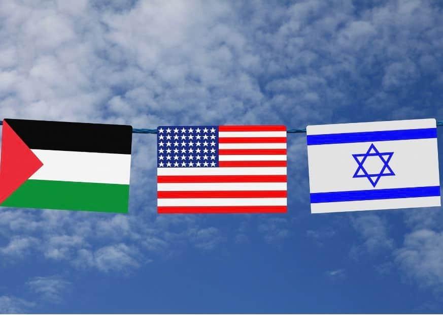 Флаги Израиля, Палестины и США изображение