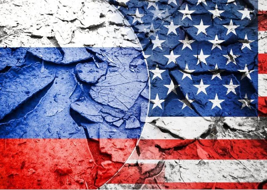 Флаги России и США изображение