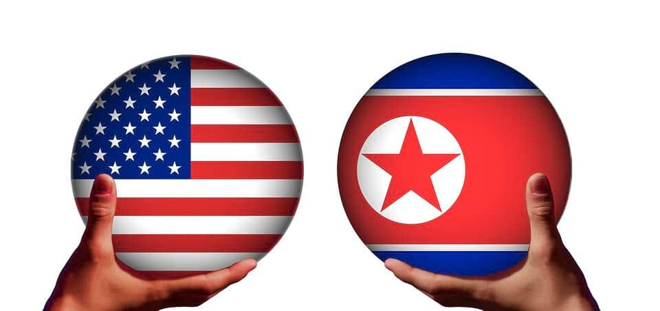 Флаги США и Северной Кореи иллюстрация