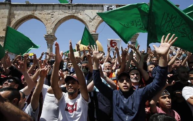Палестинцы с флагами ХАМАСа фото
