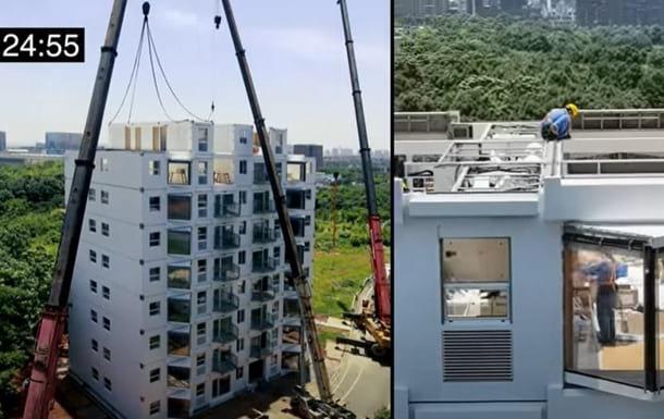 В Китае за сутки построили высотный дом фото