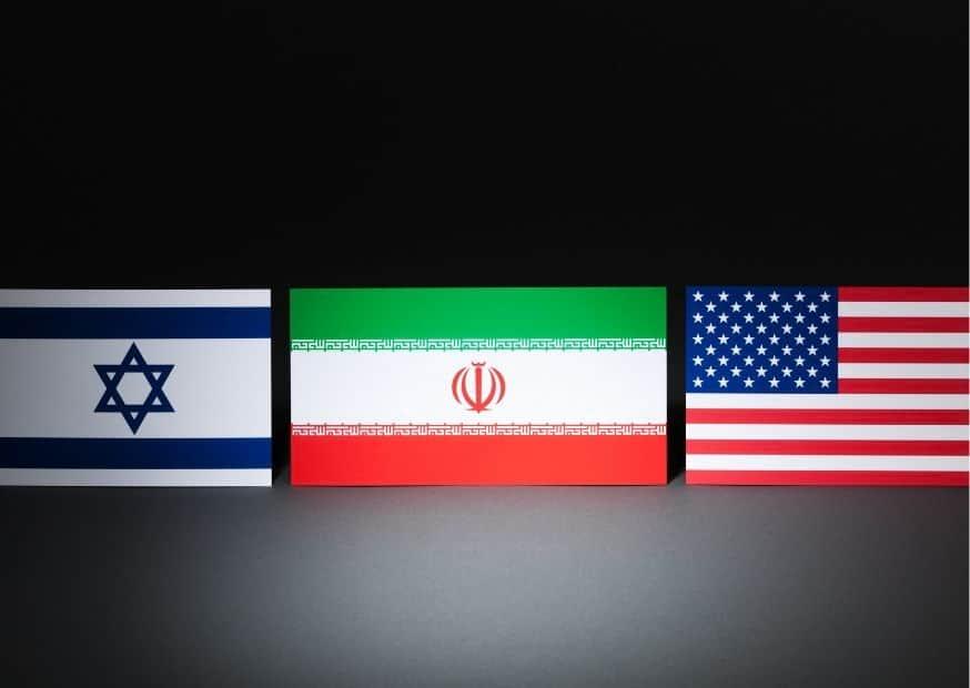 Флаги Израиля, США и Ирана изображение